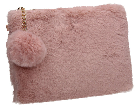 Lillie Slim Faux Fur Clutch Bag Pink