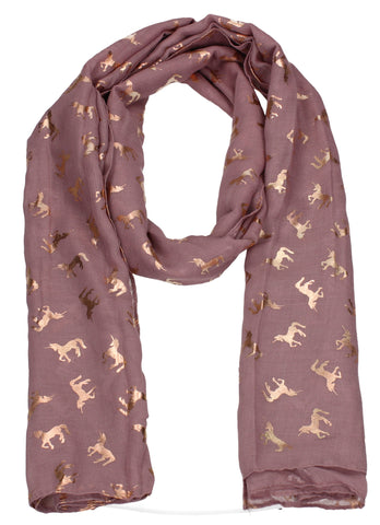 Leah Unicorn Rose Gold Foil Print Scarf Pink