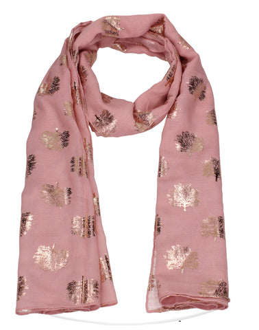 Oak Tree Print Rose Gold Foil Winter Scarf Pink