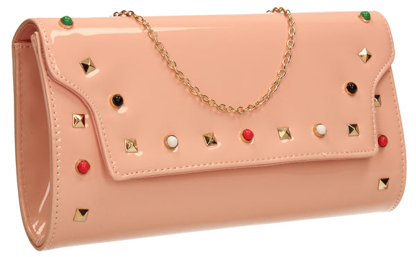 SWANKYSWANS Mya Patent Clutch Bag Pink Beige Cute Cheap Clutch Bag For Weddings School and Work