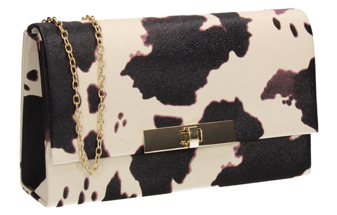 Tana Faux Leather Animal Style Clutch Bag Pony Skin Black & White