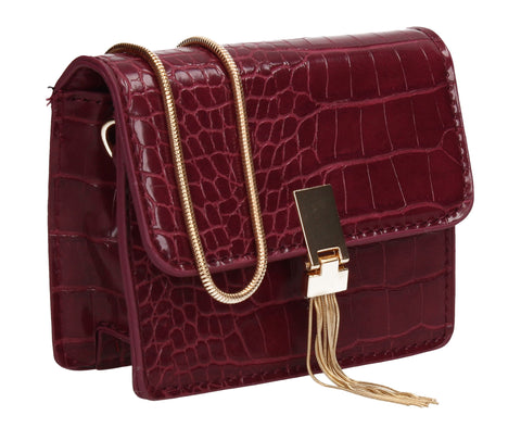 Anna Micro Mini Statement Crossbody Clutch Bag Burgundy