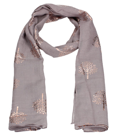 Mulberry Rose Gold Tree Scarf Purple