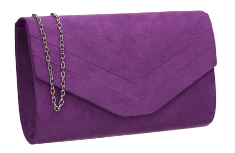 Samantha V Detail Clutch Bag Purple