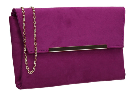 SWANKYSWANS Joe Plain Faux Suede Clutch Bag Purple