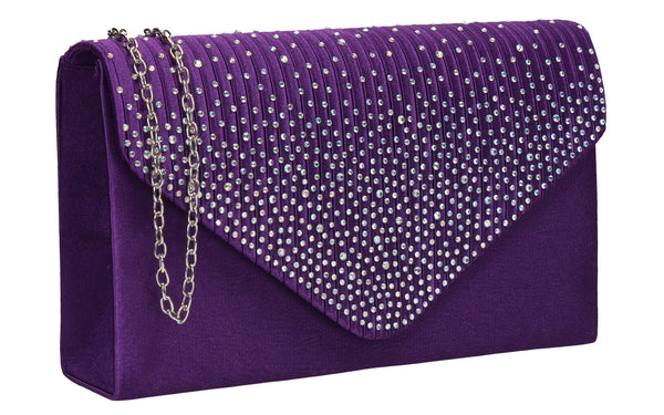 Abby Diamante Clutch Bag Purple