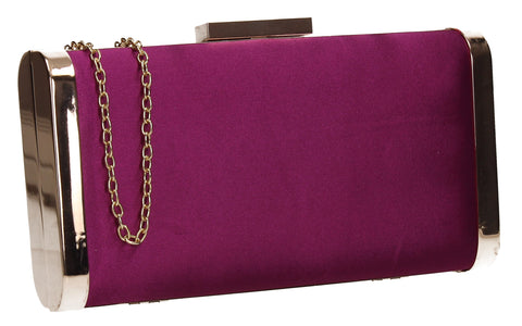 Kathleen Faux Suede Box Shape Clutch Bag Purple