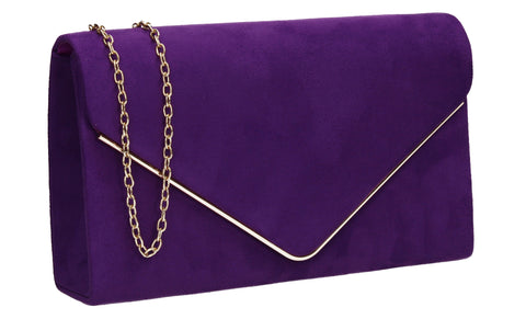 Poppy Faux Suede Envelope Clutch Bag Purple