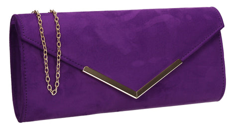 Leona Envelope Faux Suede Clutch Bag Purple