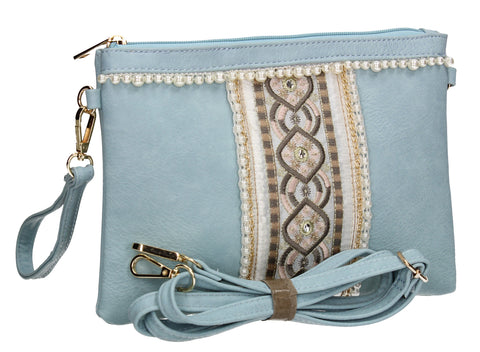 SWANKYSWANS Delilah Clutch Bag Quay Blue Cute Cheap Clutch Bag For Weddings School and Work