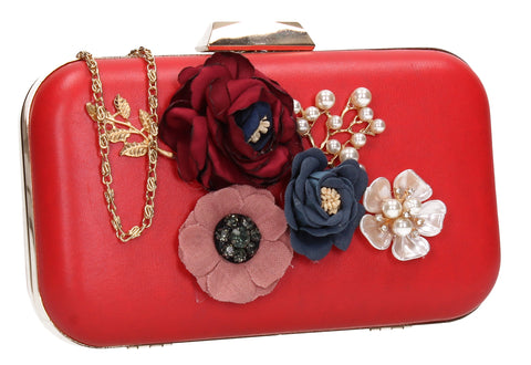 SWANKYSWANS Eliza Floral Clutch Bag Red