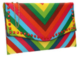SWANKYSWANS Rainbow Clutch Bag Multicolour Cute Cheap Clutch Bag For Weddings School and Work