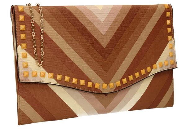 SWANKYSWANS Rainbow Clutch Bag Tan Cute Cheap Clutch Bag For Weddings School and Work