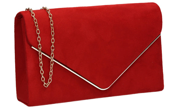 Oscar Faux Suede Envelope Clutch Bag Red