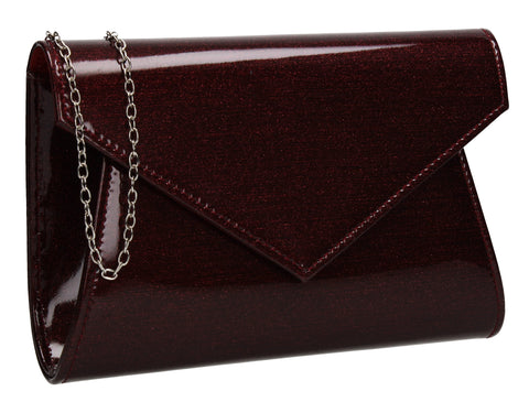 Zoe Sparkly Envelope Clutch Bag Burgundy