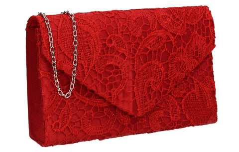 Holly Lace Clutch Bag Red