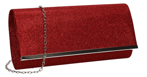 Lucey Flapover Glitter Clutch Bag Red