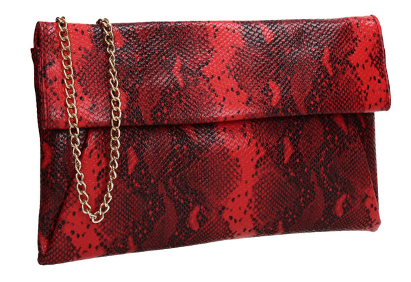 Colette Faux Snakeskin Slim Clutch Bag Red