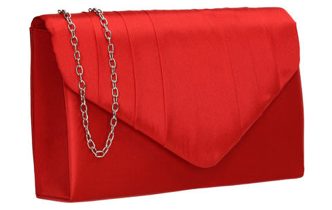 Chantel Beautiful Satin Envelope Clutch Bag Red
