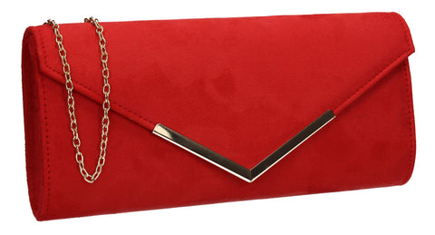 Leona Envelope Faux Suede Clutch Bag Red