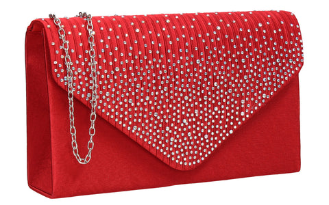 Abby Diamante Clutch Bag Red