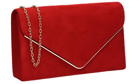 Poppy Faux Suede Envelope Clutch Bag Red