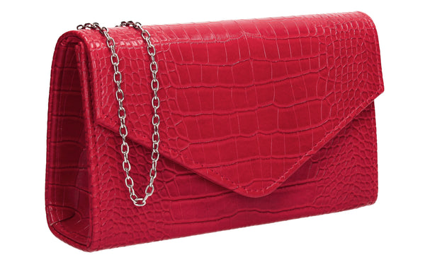 Emily Croc Effect Clutch Bag Red