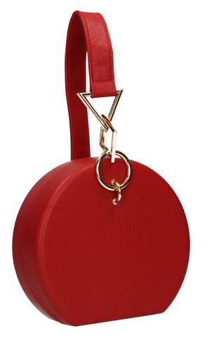 Rayne Circular Style Faux Leather Clutch Bag Red