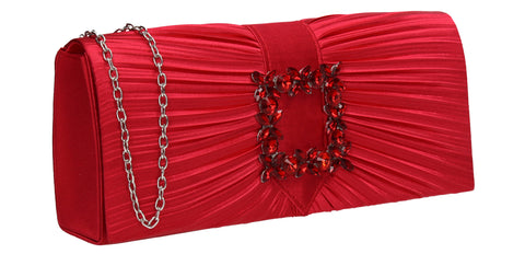 Chloe Satin Clutch Bag Red