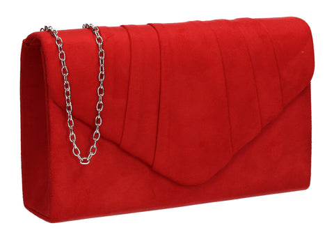 Iggy Faux Suede Clutch Bag Red