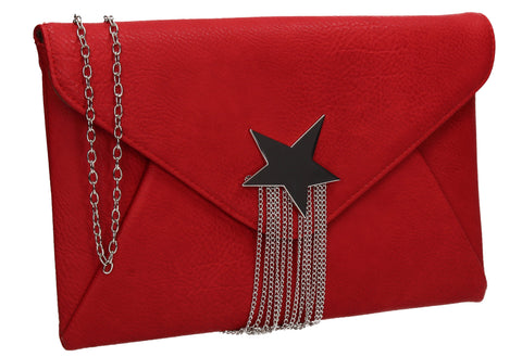 Cameron Shiny Star Motif Clutch Bag Red