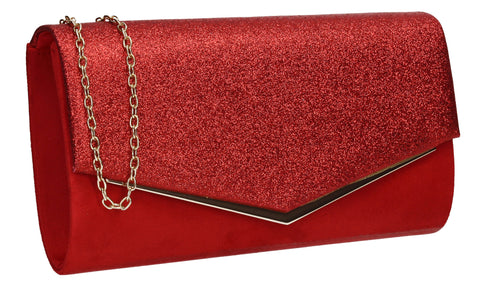 Janey Glitter Envelope Clutch Bag Red