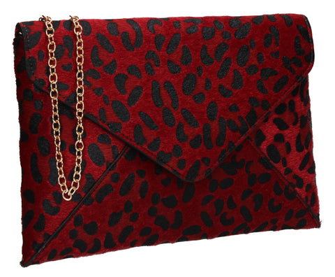 Sasha Faux Suede Leopard Print Clutch Bag Red