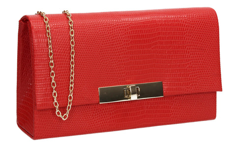 Tana Faux Leather Animal Style Clutch Bag Red