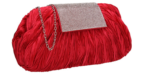 Sienna Diamante Pouch Clutch Bag Red
