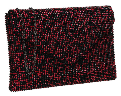 Averie Slim Envelope Two Tone Bead Clutch Bag Red & Black