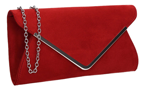 SWANKYSWANS Karlie Suede Clutch Bag Red Cute Cheap Clutch Bag For Weddings School and Work