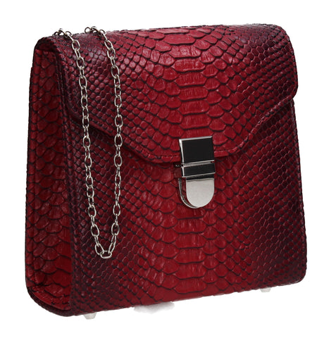 Kalie Vegan Snakeskin Pattern Clutch Bag Red