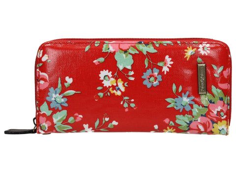 Hayley Floral Large Zipped Wallet - Red-Purse-SWANKYSWANS