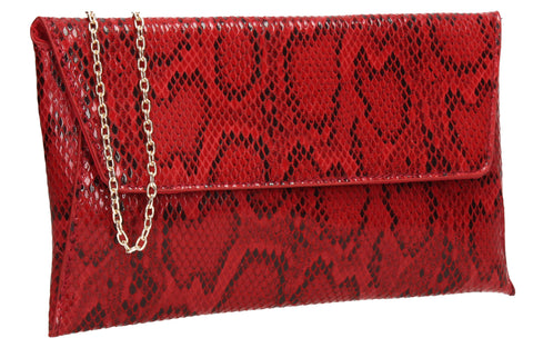 Karla Faux Snakeskin Effect Flapover Clutch Bag Red