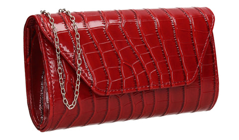 Erin Croc Effect Clutch Bag Red