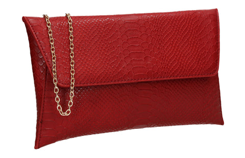 Remi Faux Leather Snakeskin Effect Flapover Clutch Bag Red