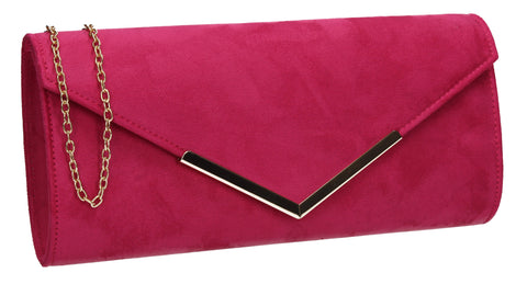 Leona Envelope Faux Suede Clutch Bag Rose
