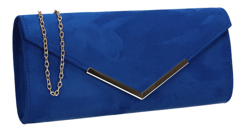 Leona Envelope Faux Suede Clutch Bag Royal Blue