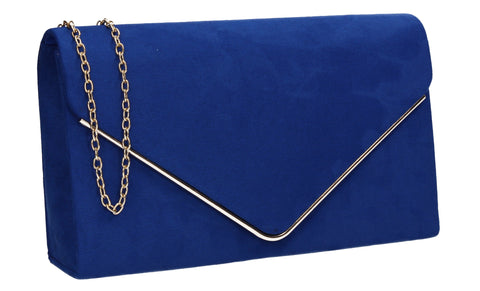 Poppy Faux Suede Envelope Clutch Bag Royal Blue