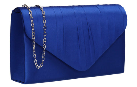 Chantel Beautiful Satin Envelope Clutch Bag Royal Blue