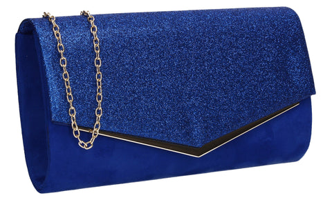 Janey Glitter Envelope Clutch Bag Royal Blue