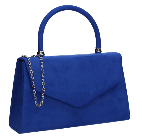 Kendall Faux Suede Clutch Bag Royal Blue