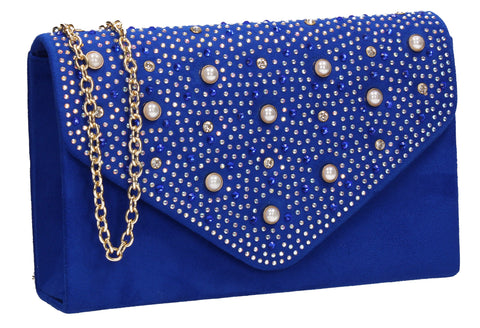 SWANKYSWANS Laurel Clutch Bag Royal Blue Cute Cheap Clutch Bag For Weddings School and Work