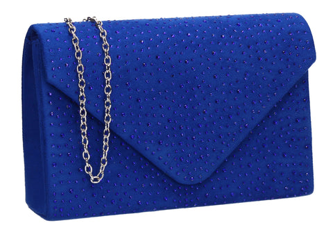 Sidney Diamante Clutch Bag Royal Blue Swanky Swans Beautiful Clutch Fun Party Glitter Animal Sequin Clutch Bag